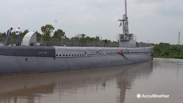 World War II submarine sinking in historic flooding