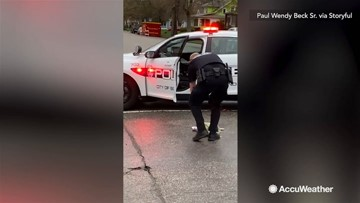 A skunk gets into a stinky situation, gets help from police