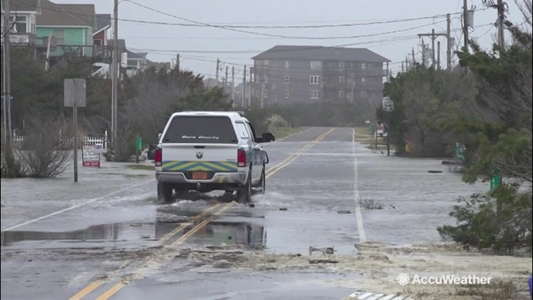 Weekend-long storm swamping the Outer Banks of North Carolina
