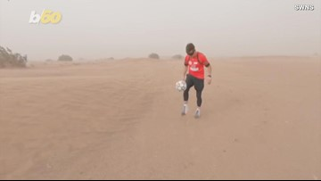 Football Freestyler Kicks Soccer Ball Across the Sahara