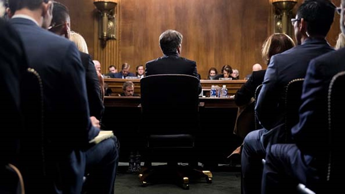 Handwritten note on Kavanaugh, Ford hearing room table: 'Good luck, Dr. Ford'