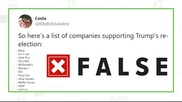 VERIFY: Fake list of companies to boycott over Trump re-election donations spreads online