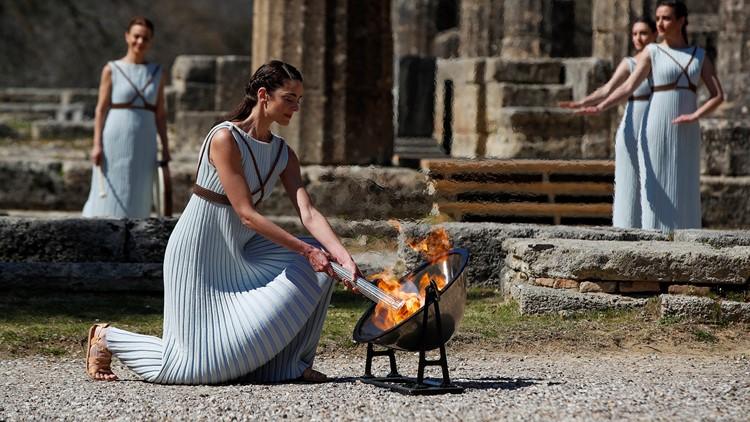 APTOPIX Greece Olympics Tokyo Flame Lighting Virus Outbreak