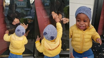 Watch this little boy overflowing with joy as he reunites with grandparents through glass door