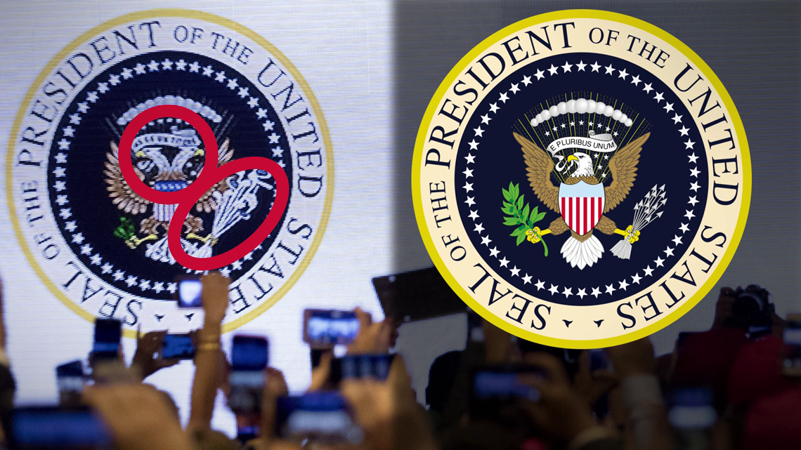 "VERIFY: Yes, a fake ""Presidential Seal"" was put up behind Trump at a recent speech"