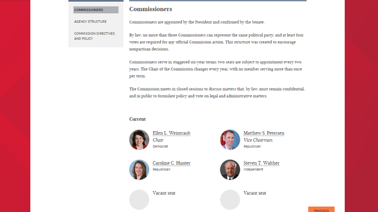 FEC Commissioners page