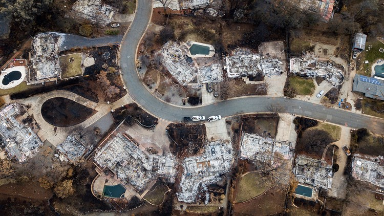 Northern California Wildfire aftermath in Paradise overhead AP file