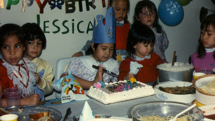 Jessica Cox childhood birthday party