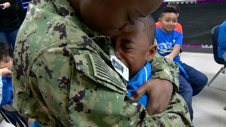 'I missed her so much'   Mom returns from deployment, surprises sons