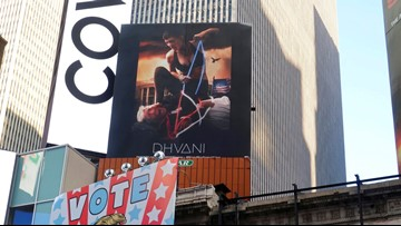 Portland company gets attention with Times Square billboard of hog-tied Trump