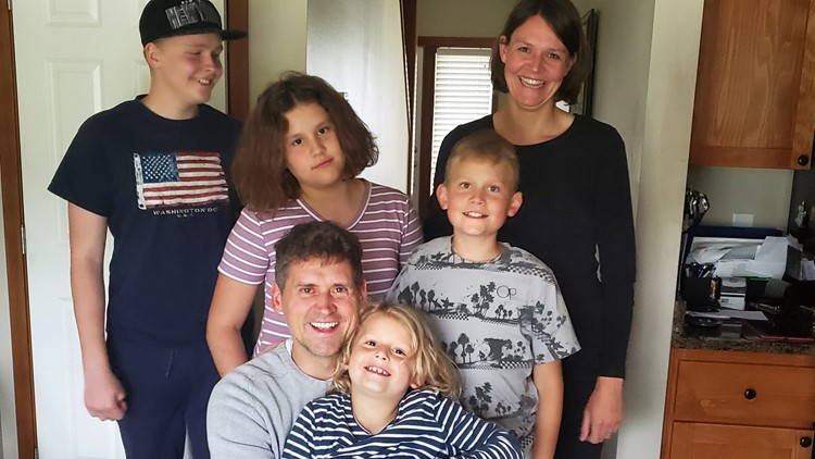 The Fischers celebrate Benjamin's 42nd birthday while staying with Sgt. Moon and his family in Cathlamet.