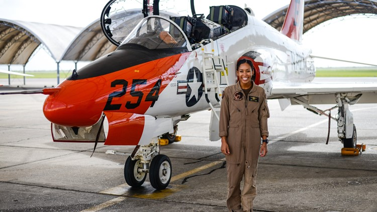The US Navy's first Black female tactical jet pilot gets her 'Wings of Gold' Friday