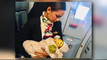 Flight attendant feeds hungry baby mid-flight after mother runs out of formula