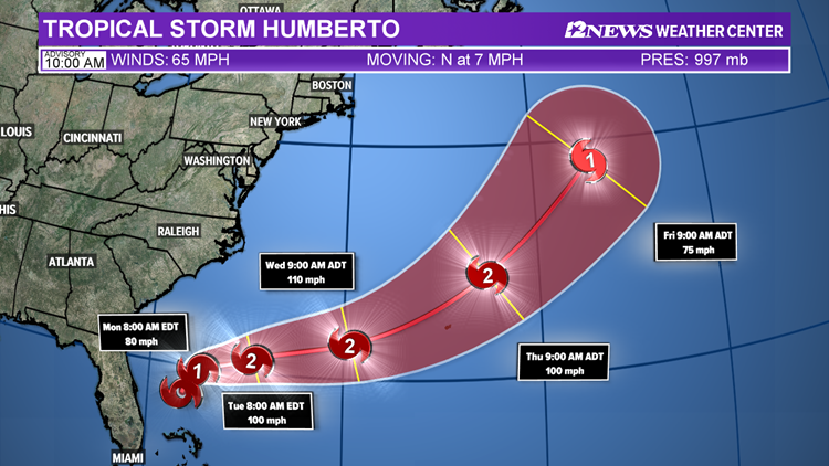 Tropical Storm Humberto Sunday night track 9-15-2019