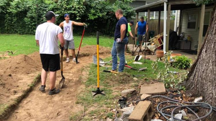 Firefighters spend off-days building sidewalk for woman in wheelchair who had trouble getting into her home