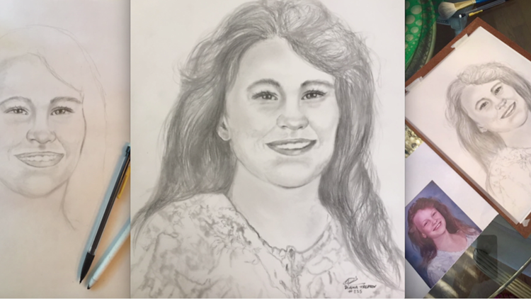 Portrait artist's gift show what Angie Housman would look like today