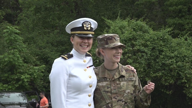 Woman graduates from US Naval Academy, receives first salute from sister