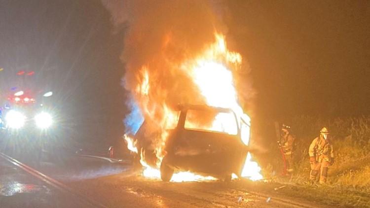 Van crashes into deer, catches fire on Idaho highway