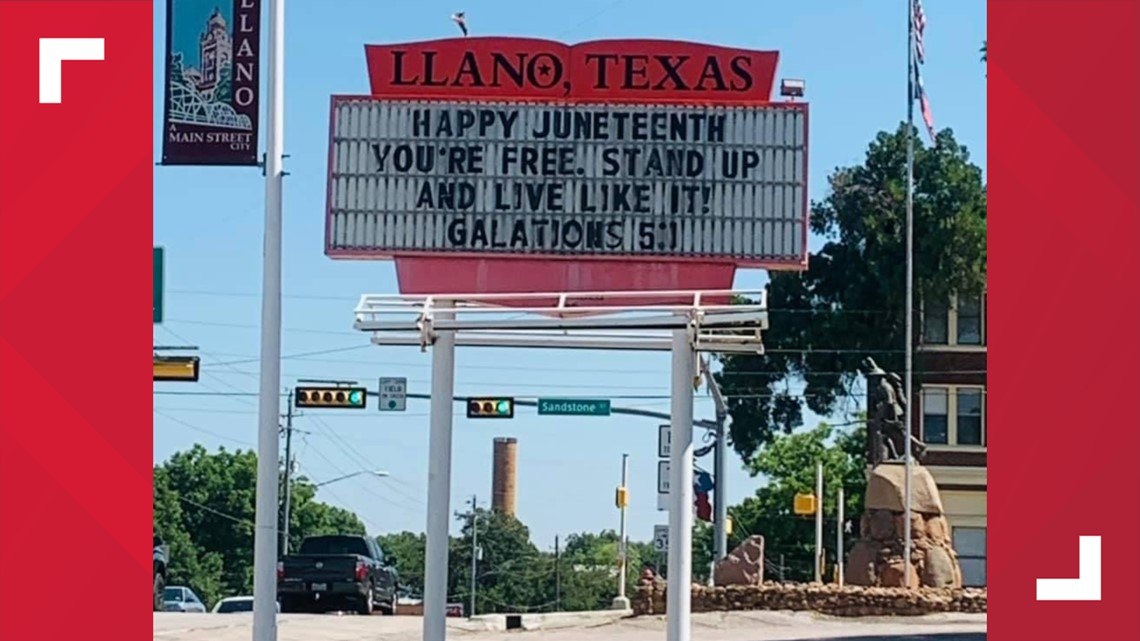 Llano, Texas chamber of commerce apologizes for Juneteenth marquee referencing Bible verse