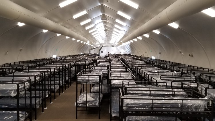 Inside of a Sprung shelter