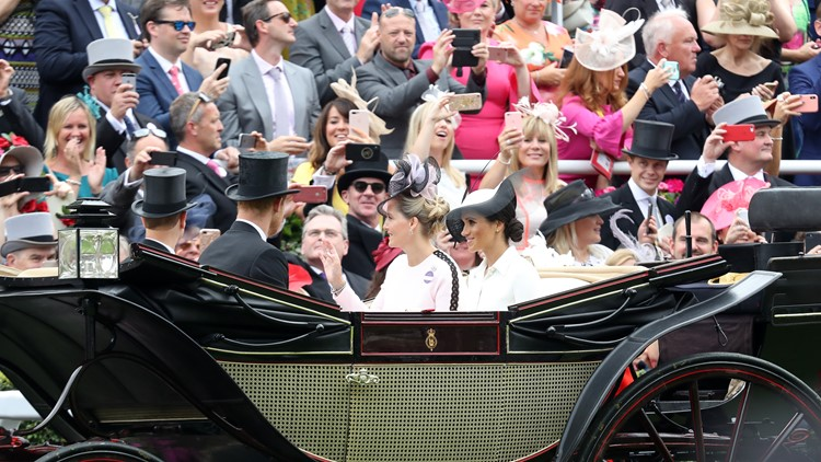 Prince Edward, Earl of Wessex, Prince Harry, Duke of Sussex, Sophie, Countess of Wessex and Meghan, Duchess of Sussex arrive by carriage to Royal Ascot Day 1 at Ascot Racecourse on June 19, 2018 in Ascot, United Kingdom.