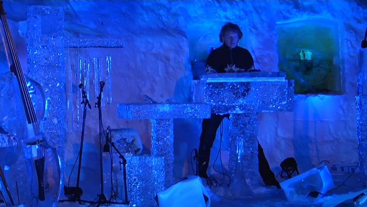 Terje Isungset plays one of his ice instrument creations.