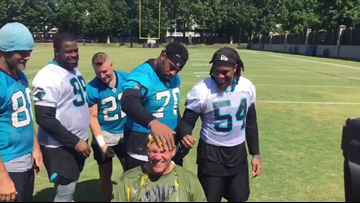 Panthers players egg coach Ron Rivera for #CrackCancer challenge