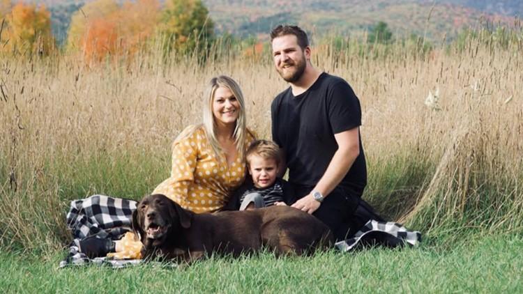 Devon & Ryan Wheeler with their son, Asher, and the family bakery dog, Daisy Mae.