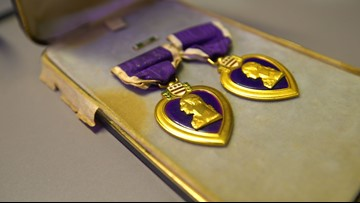 Man searching for rightful owner of two Purple Hearts