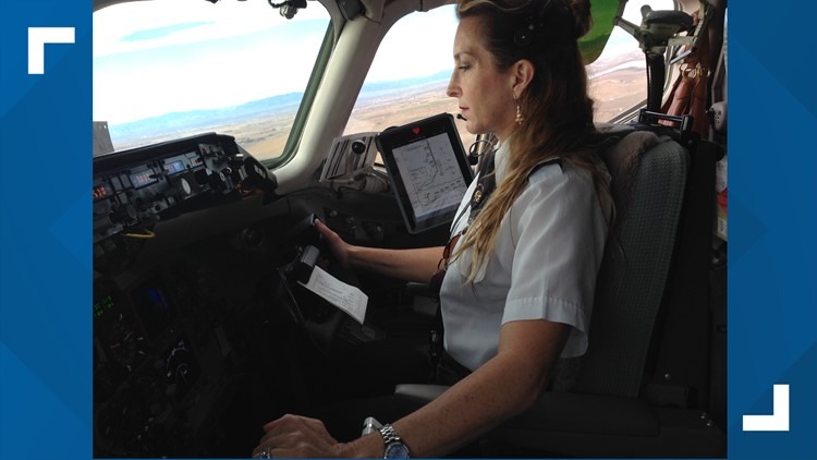 American Airlines First Officer Jennifer Ewald piloting an MD-80.