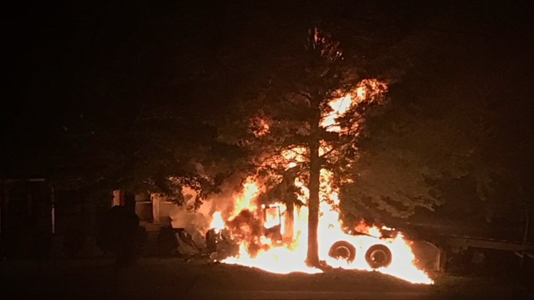 Tractor Trailer and house fire in Wilkes County