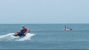 8-year-old riding unicorn float rescued after wind blew raft out to sea