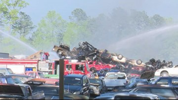 Fire at metal recycling lot in Columbia leads to heavy smoke
