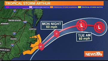 Tropical Storm Arthur moving away from North Carolina