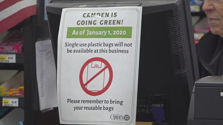 Camden plastic bag ban signage