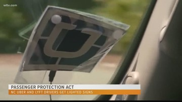 Uber, Lyft drivers get lighted signs ahead of law change in NC