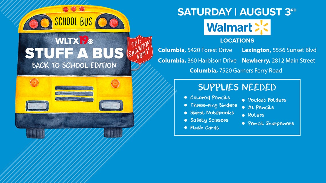 Stuff a bus Saturday to help Midlands kids start the school year off right!