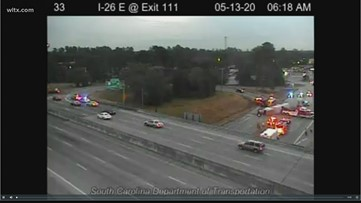 Accident cleared: overturned tractor-trailer blocked exit ramp on I-26W in West Columbia