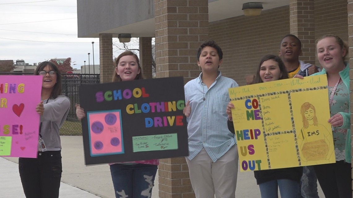 'So this is students helping students': Middle school students collect warm clothes for classmates