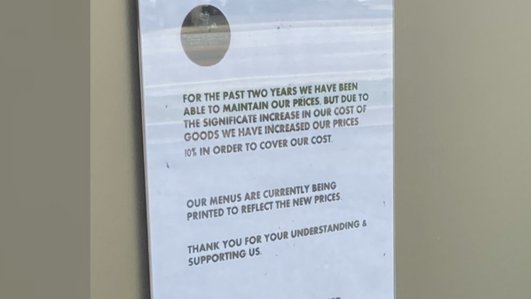 Some restaurants raise prices, drop items as cost of goods increase amid worker shortage
