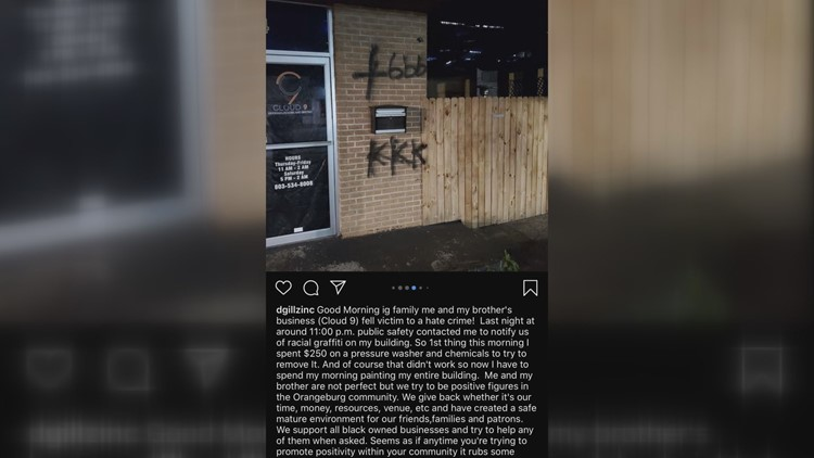 Picture from social media show the KKK written on the front of the building