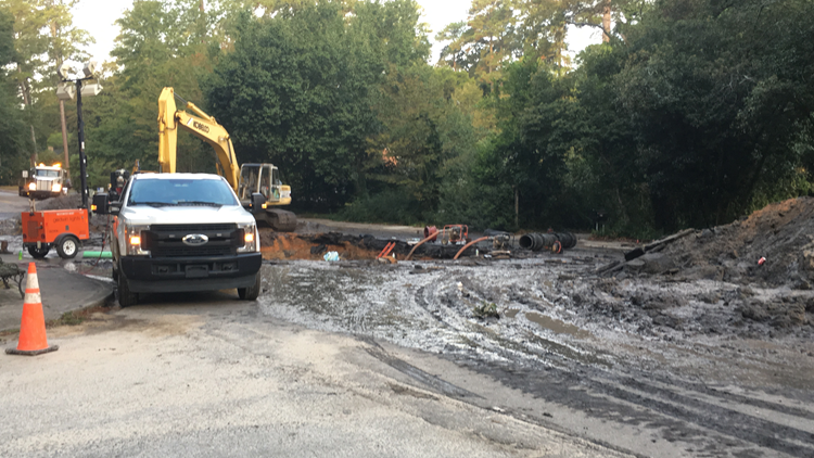 Sinkhole repairs on Trenholm Road