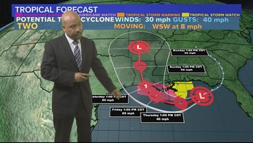 Invest 92L latest forecast track, likely headed to New Orleans