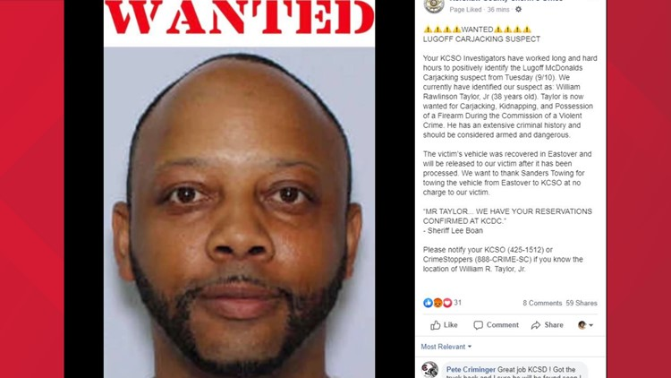 Screenshot of kershaw county sheriff's office's facebook