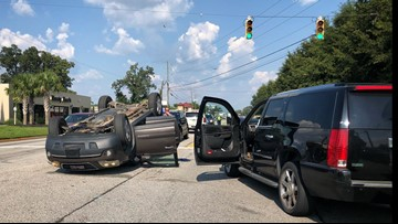 Lanes reopen after car overturns on Sunset Boulevard in Lexington