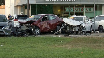 Car runs off the road, damages 9 vehicles at Columbia car dealership