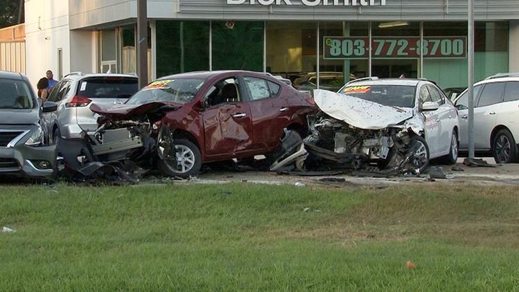 Car runs off the road, damages 9 vehicles at Columbia car dealership