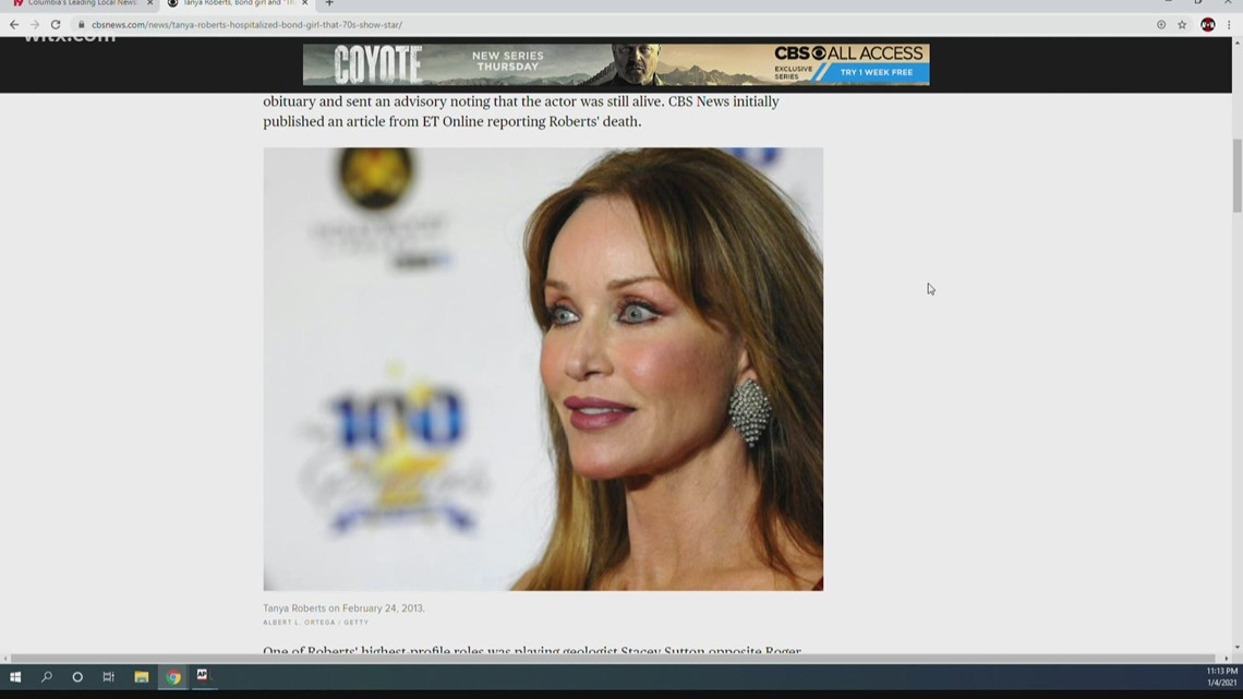 Reports: Tanya Roberts still alive Monday, says rep who reported she had died Sunday