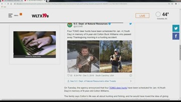 S.C. boy who died in hunting accident to be remembered through youth hunting program