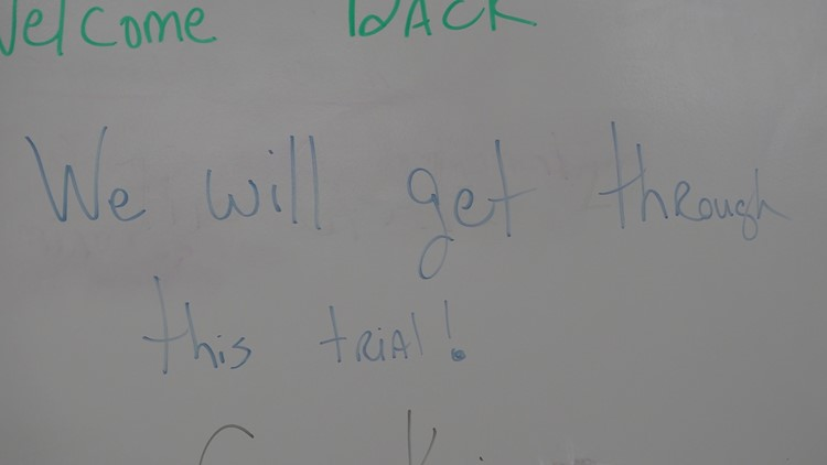 White board at North Central High's temporary campus